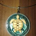 Zöld teknősös nyaklánc, Ékszer, óra, Nyaklánc, KIÁRUSÍTÁS - Zöld teknősös nyaklánc   , Meska