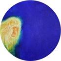 Holdmajom, Művészet, Festmény, Festmény vegyes technika, Festészet, Temperával és olajfestékkel, feszített, kör alakú vászonra készített festmény. Átmérője 30 cm. A ké..., Meska