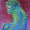 Portré, Művészet, Grafika & Illusztráció, Fotó, grafika, rajz, illusztráció, Szürreális majomportré, egyedi, vibráló színekkel.  A kép saját ötlet, kivitelezés, még hasonlót se..., Meska