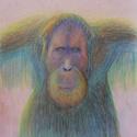 Portré, Művészet, Grafika & Illusztráció, Fotó, grafika, rajz, illusztráció, Szürreális majomportré, egyedi, vibráló színekkel. A kép saját ötlet, kivitelezés, még hasonlót sem..., Meska