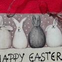 Húsvéti ajtótábla, Dekoráció, Ünnepi dekoráció, Húsvéti apróságok, Decoupage, transzfer és szalvétatechnika, 16x 12 cm -es egyedi boldog kezekkel készítettem ezt a húsvéti nyuszis ajtótáblát, amihez decoupage..., Meska