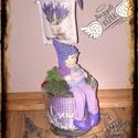 Tavaszi asztaldísz, Dekoráció, Dísz, Egyedi kézzel készített tavaszi levendulás asztaldísz, filctechnikával, üvegtálban., Meska