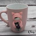 Rózsaszín cicababa csíkos harisnyában/Cicalány babájával/, A bögre anyaga kerámia. A dekoráció süthető ...