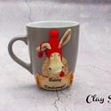 Boldog karácsonyt bögre/Karácsonyi rénszarvasos csupor, A bögre anyaga kerámia. A dekoráció süthető ...