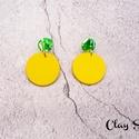 Zöld-sárga márvány kör fülbevaló, A fülbevaló süthető gyurmából, kézzel kész...