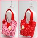 2in1 Kifordítható eprecskés- pöttyös táska,  2in1, a kifordítható vászontáska!  Mindkét f...