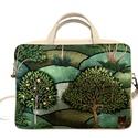 Zöld fás laptop táska, Drapp textilbőrrel kombinált laptop táska . A m...