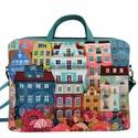 Házikós laptop táska+szütyő+laptop tok, Türkiz textilbőrrel kombinált laptop táska . A...