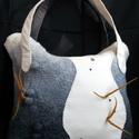 Futurisztikus nemezelt táska, Táska, Válltáska, oldaltáska,  A táska 100% merinó gyapjúból, hernyó selyemből és valódi bőrből készült. Bélelt, két..., Meska
