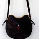 Szép nemezelt táska, Táska, Válltáska, oldaltáska, Táska 100% gyapjúból készült, selyem cérna rostok használatával, valódi bőrrel díszítve...., Meska