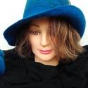 """Nemezelt kalap """" Kékség"""", Ruha, divat, cipő, Kendő, sál, sapka, kesztyű, Sapka,  Kalap 100% gyapjúból készült, 100% selyem rost , viszkóz rost használatával.Többféleképpe..., Meska"""