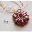 Málnás habcsók - gyöngyfűzött medál