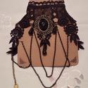 Vintage csipke nyakék, Ékszer, Esküvő, Esküvői ékszer, Nyaklánc, Fekete vintage csipke nyakék.bálokra ,különleges ünnepekre. Antikréz medál díszíti.   Mére..., Meska