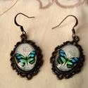 Pillangók, Ékszer, óra, Fülbevaló, Gyűrű, Medál, Pillangós üveglencsés fülbevaló lepke kedvelőknek!   üveglencse:18x13 mm  hossz.3cm, Meska