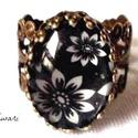 Tavaszi kiárusítás!, Ékszer, Esküvő, Gyűrű, Esküvői ékszer, Ékszerkészítés, Virág mintás gyűrű.  Antik réz 17mm/ állítható méretű. Műkörmös alapanyaggal díszítve. Lencse méret..., Meska