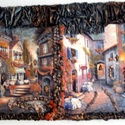 Mediterrán utca kép, Otthon, lakberendezés, Képzőművészet, Falikép, Decoupage, transzfer és szalvétatechnika, Fotó, grafika, rajz, illusztráció, Mediterrán utca kép feszített vászonra vegyes technikával készített,paverpol,decoupage technikával...., Meska