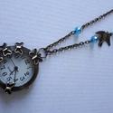Pillangós ékszeróra, Ékszer, Karóra, óra, Medál, Nyaklánc, Pillangós ékszeróra akár pulóverhez is hordható!  a lánc hossz:70 cm , Meska