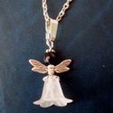Obszidián angyalka nyaklánc, Ékszer, Medál, Karácsonyi, adventi apróságok, Karácsonyfadísz, Opszidián angyalka! Az obszidián ásvány, az egyik legrégebben ismert ásványunk. Már az kőkorban is m..., Meska