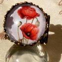 Pipacs gyűrű, Ékszer, Gyűrű, Nyaklánc, Pipacs kedvelőknek készült  üveglencsés  gyűrű .  mérete állítható. üveglencse :16 mm ., Meska