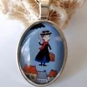 Mary Poppins a nevelőnő üveglencsébe zárva, Ékszer, Mindenmás, Nyaklánc, Kulcstartó, Egy nap a keleti széllel megérkezik Mary Poppins , a nevelőnő. Táskája azonnal lenyűgözi a gyerekeke..., Meska