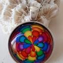 Színkavalkád üveglencsés nyaklánc, Ékszer, Nyaklánc, Medál, Gyűrű, Gyönyörű színek a tavasz ,nyár színei üveglencsébe zárva.  a medál 25x25mm üveglencsés Antik ezüst  ..., Meska