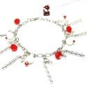 Cukorkapálca karkötő, Ékszer, Karkötő, ezüst színű karácsonyi hangulatú karkötő, sok-sok cukorka pálcikával :)   piros-fehér gyö..., Meska