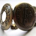 Óriás vintage Alíz  zsebóra, Ékszer, Nyaklánc, Antikolt bronz színű vintage zsebóra,Alíz csodaországban motívumokkal.  Az óra elején, és h..., Meska