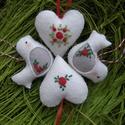 """""""Piros rózsák """", Dekoráció, Ezt a négy díszt piros rózsákkal díszítettem .A csomagban 2db szív és 2db madárka találhat..., Meska"""