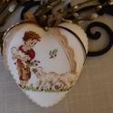 Szív báránykával, Dekoráció, Ezta a 11cm -s hungarocell szívet kedves kis húsvéti mintával díszítettem amit keresztszemes h..., Meska