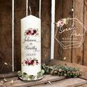 Esküvői gyertya, egyedi szöveggel, névvel ellátva, Esküvő, Esküvői dekoráció, Decoupage, transzfer és szalvétatechnika, Virágos esküvői gyertya, egyedi névvel, dátummal, igény esetén további felirattal kérhető.   Egyedi..., Meska