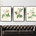 Vintage rózsák faliképek (2.), virágos faliképek, nappali dekoráció, romantikus dekor, Baba-mama-gyerek, Gyerekszoba, Baba falikép, Kiváló minőségű képek, faldekoráció - vintage rózsák  - Mérete: A4 - 250 grammos texturá..., Meska