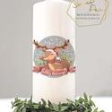 Karácsonyi gyertya, egyedi gyertya, gyertya felirattal, rénszarvas, karácsonyi ajándék, Esküvő, Esküvői dekoráció, Decoupage, transzfer és szalvétatechnika, Karácsonyi gyertya rénszarvassal,   Külön felirattal is kérhető!  Méretek: 15, 20 és 25 cm  Szín: p..., Meska