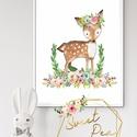 Gyerekszoba, babaszoba dekoráció, őzike virágokkal kép gyerekszobába, erdei állatok, Baba-mama-gyerek, Gyerekszoba, Baba falikép, Gyerekszoba, babaszoba dekoráció, kép vagy képek gyerekszobába, Erdei állatok, őzike virágok..., Meska