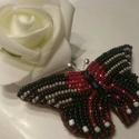 Piros fekete pillangó kitűző, Ékszer, Bross, kitűző, Gyöngyfűzés, Szeretem a pirosat a feketével kombinálni. Olyan nemes és erőteljes. Ez egy elegánsabb darab, érdem..., Meska