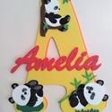 Dekorgumi gyerekszoba dekoráció névtábla panda, Baba-mama-gyerek, Dekoráció, Gyerekszoba, Falmatrica, Mindenmás, Dekorgumi gyerekszoba dekoráció névtábla panda  A nagy betűn (név kezdőbetűje) középen helyezkedik ..., Meska