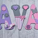 Bababetűk, nagyméretű betű, pillangós pink-szürke-lila, 3 betűs név (1200 Ft/betű), Gyerek & játék, Otthon & lakás, Gyerekszoba, Dekoráció, Baba falikép, Mindenmás, Bababetűk, nagyméretű név, pillangós pink-szürke-lila, 3 betűs név (1200 Ft/betű)  A betűk mérete: ..., Meska