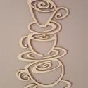 """""""Kávéscsészék"""" lézervágott nyír fali kép, Dekoráció, Otthon, lakberendezés, Kép, Falikép, """"Kávéscsészék"""" lézervágott nyír fali kép 17x30 cm. Rendelhető natúr (lakozott), bronz, met..., Meska"""
