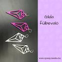 Gilda bőr fülbevaló, Ékszer, Fülbevaló, Anyák napja, Ballagás, Pink színű valódi olasz marhabőrből megtervezett és kivágott egyedi 40x60 mm-es fülbevaló. ..., Meska
