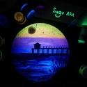 Sunset. - Sötétben világító egyedi akril festmény 20x20 cm méretben, Képzőművészet, Otthon, lakberendezés, Festmény, Falikép, Festészet, Szeretnél egy különleges képet a falra? Akkor ismerd meg Sage Art képeit.  Különleges technikával k..., Meska