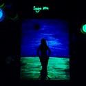 Alone with the sea at night. - Sötétben világító egyedi akril festmény 30x24x0,5 cm, Képzőművészet, Otthon, lakberendezés, Festmény, Falikép, Festészet, Szeretnél egy különleges képet a falra? Akkor ismerd meg Sage Art képeit.  Különleges technikával k..., Meska