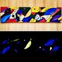 Fishes in the dark. - Sötétben világító egyedi akril festmény 100x25x2 cm méretben, Képzőművészet, Otthon, lakberendezés, Festmény, Falikép, Festészet, Szeretnél egy különleges képet a falra? Akkor ismerd meg Sage Art képeit.  Különleges technikával k..., Meska