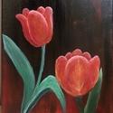 Tulipánok, Művészet, Festmény, Akril, Festészet, Akrilfestékkel készült tulipános festmény, 18*24 cm-es feszített vásznon, akasztóval ellátva., Meska