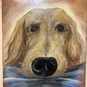 Golden retriever festmény, Művészet, Festmény, Akril, Festészet, 18*24 cm-és feszített vászonra készítettem a festményt egy elképzelt kutyusról. Az inspirációt a gy..., Meska