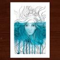 Víz alatt :: A5 nyomdai nyomat, Képzőművészet, Grafika, Vegyes technika, Illusztráció, Nyomdai nyomat, akvarellel és fekete tustollal készített festményemről.  A képen látható grafika A5-..., Meska
