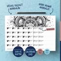 Letölthető, nyomtatható 2019-es naptár, Otthon & lakás, Naptár, képeslap, album, Naptár, Képzőművészet, Grafika, A4 méretű (297x210 mm), letölthető és (akár otthon) nyomtatható 2019-es naptár.  Minden hónap fejléc..., Meska