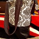 Női textilbőr tàska, Táska, Válltáska, oldaltáska, Àltalam készített női táska, fekete textilbőrrel, világos alapon mintàs,menta színű zsebes..., Meska