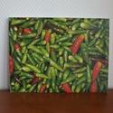 Vászonkép (zöld chillik), Dekoráció, Kép, Mindenmás, A 30 x 40 cm-es vászonkép saját fotómból készült, tökéletesen mutat pl. konyhába. További minták it..., Meska