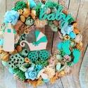 Baby ajtódísz, Dekoráció, Dísz, Virágkötés, Bármilyen színben kérhető ajtódísz.Baby kiegészítőkkel. 24 cm átmérővel., Meska
