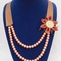 Narancs-barna nyaklánc, Ékszer, Nyaklánc, Ékszerkészítés, Varrás, Picit hangsúlyosabb nyaklánc, amit egy egyszerű ruha kiegészítőjének tudok elképzelni. Jól mutat az..., Meska