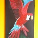 Repülő papagáj, Képzőművészet, Festmény, Akril, Napi festmény, kép, Festészet, Feszített vászonra akril festékkel festett egyedi kép. Ez az egy készült belőle, gyönyörű dísze leh..., Meska